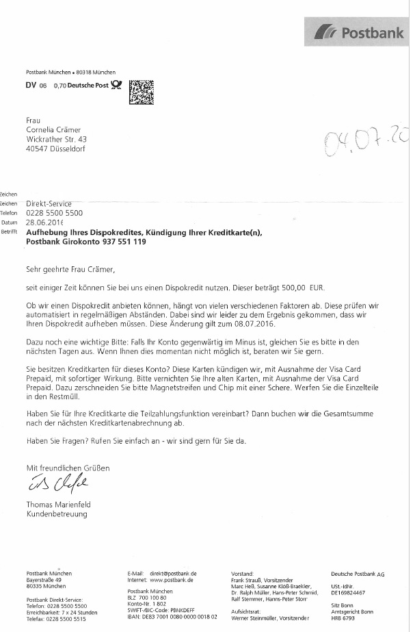 Kündigung Girokonto Postbank